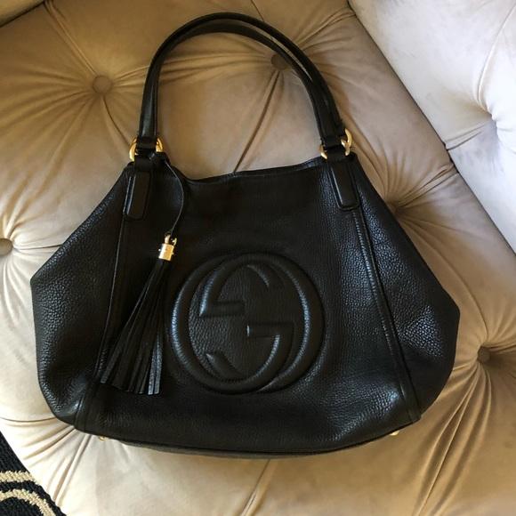 8cdb2ac8e353 Gucci Handbags - Gucci GG Soho A-Shape Black Leather Purse Bag Auth